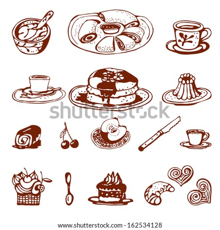 Coffee and sweet baking.Hand drawing sketch vector. - stock vector