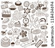 coffee and sweets - doodles collection - stock vector