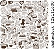 coffee  and sweets - doodles set - stock vector