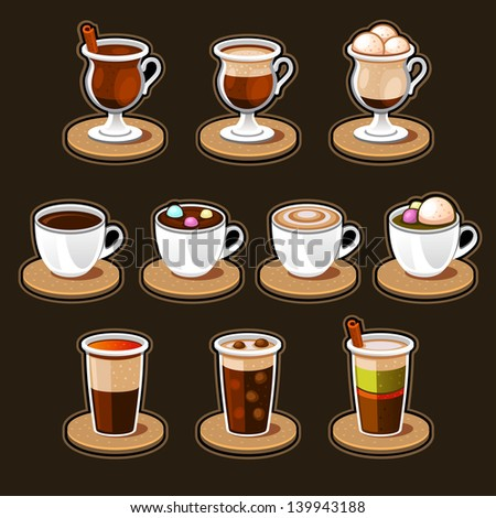 Coffee and tea cup set. - stock vector