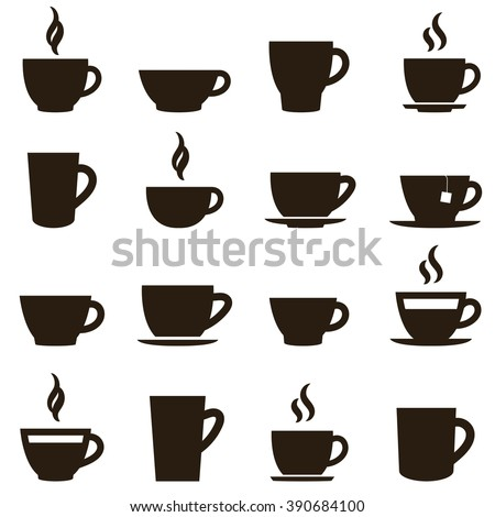 coffee and tea cup set - stock vector