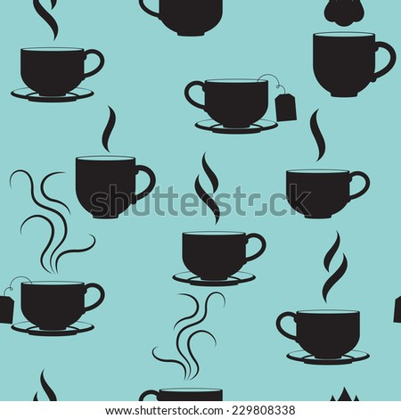 Coffee and tea cups background. Seamless pattern. Vector illustration - stock vector