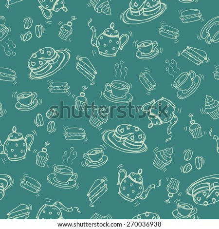 Coffee and tea doodle seamless pattern. Endless Background. - stock vector