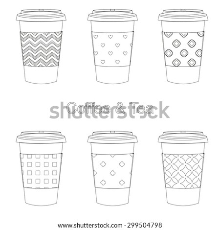 Coffee and tea in thermo takeaway cups with different ornaments set of 6 pieces - stock vector