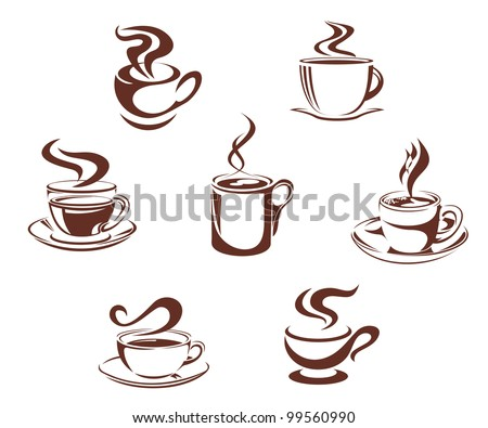 Coffee and tea symbols and icons for beverage design, such  a logo. Jpeg version also available in gallery - stock vector
