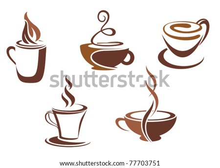 Coffee and tea symbols and icons for fast food, restaurant design or template - stock vector