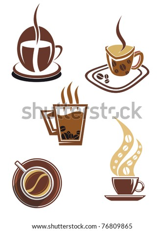 Coffee and tea symbols and icons for food design or logo template. Jpeg version also available in gallery - stock vector