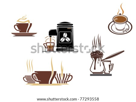 Coffee and tea symbols and icons for food design, such a logo. Jpeg version also available - stock vector