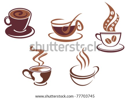 Coffee and tea symbols and icons for food design, such a logo. Jpeg version also available in gallery - stock vector