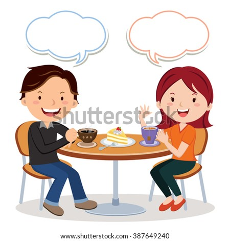 Coffee and tea time. Vector illustration of a young man and woman drinking coffee and tea. - stock vector
