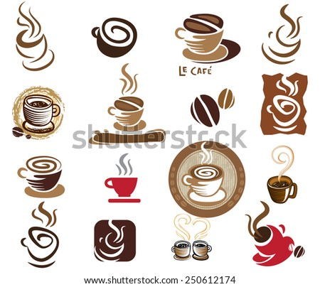 Coffee and Tea vector icon collection.  - stock vector