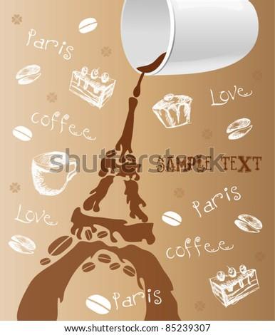 coffee background, Paris. - stock vector