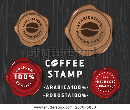 Coffee badge banner design with sealing wax and text premium quality, Design for coffee package product or coffee promotion and advertising - stock vector