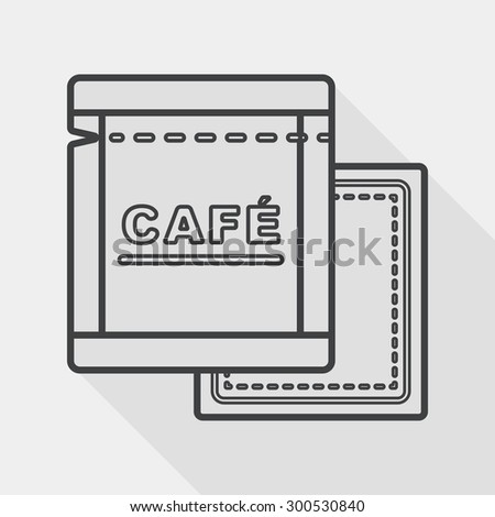 coffee bag flat icon with long shadow, line icon