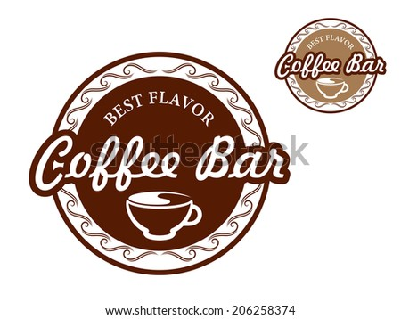 "Coffee bar signs with text ""Best Flavor Coffee Bar"" in beige and brown colors suitable for cafe and restaurant design logo isolated over white background - stock vector"
