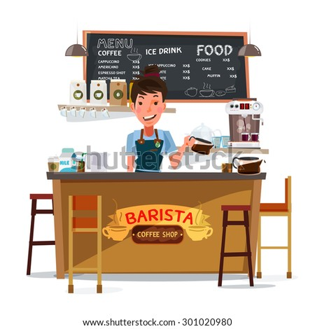 coffee bar with barista. character design - vector illustration - stock vector