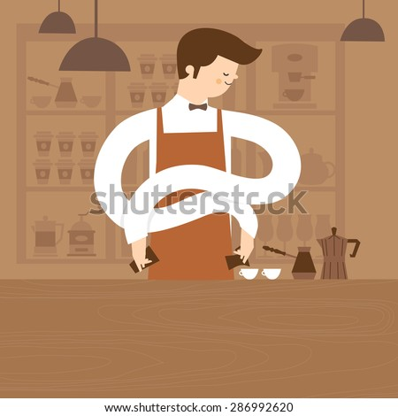 Coffee Barista Pouring Latte. Barista is making hot coffee in coffee shop. vector illustration design, restaurant, food and beverage - stock vector