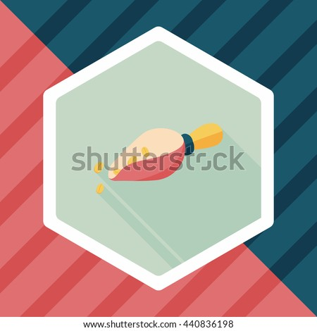 coffee bean flat icon with long shadow,eps10 - stock vector