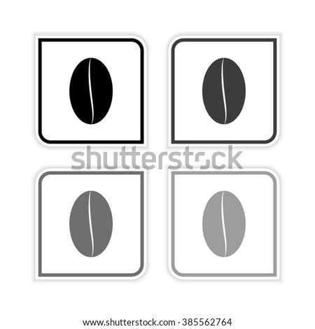 Coffee bean -  grayscale vector icon - stock vector