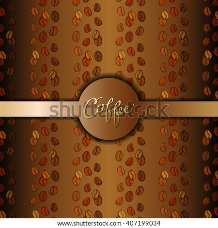 Coffee beans abstract brown gold background. Coffee seeds lines texture. Coffee banner design for coffee shop menu, ,restaurant, cafeteria, coffee packaging, wrapping paper design. Vector illustration - stock vector