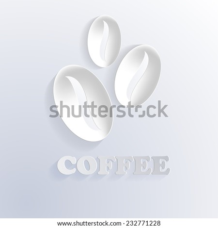 coffee beans cut from paper. vector background. eps 10 - stock vector