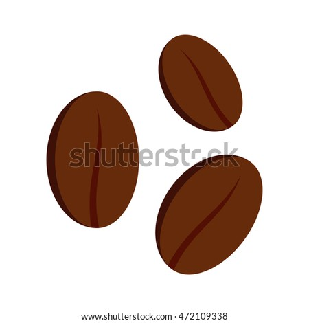 Coffee beans icon in flat style on a white background