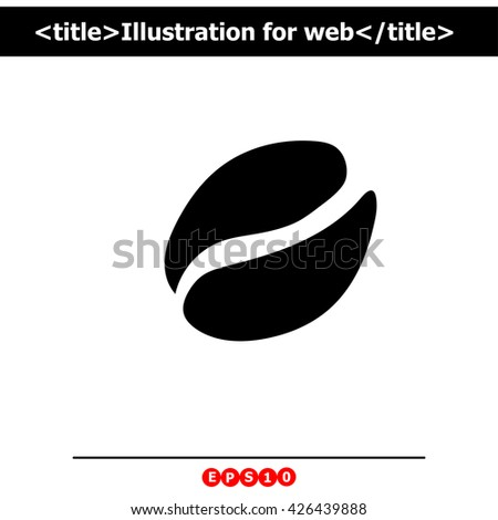 Coffee beans icon. Simple black vector symbol. Logo for web. Image for business.
