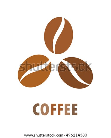 Coffee beans icon, symbol or logo. Vector illustration