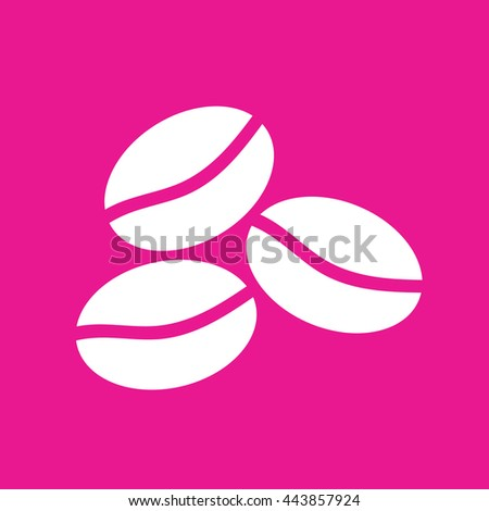 Coffee beans icon vector illustration. Pink background - stock vector