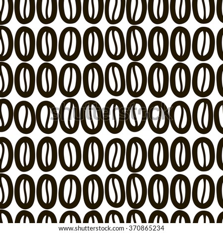 Coffee beans seamless background. Vector. Black and white. - stock vector