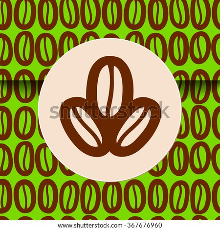 Coffee beans sign on seamless wrapping. There is the tile in Swatch panel. - stock vector