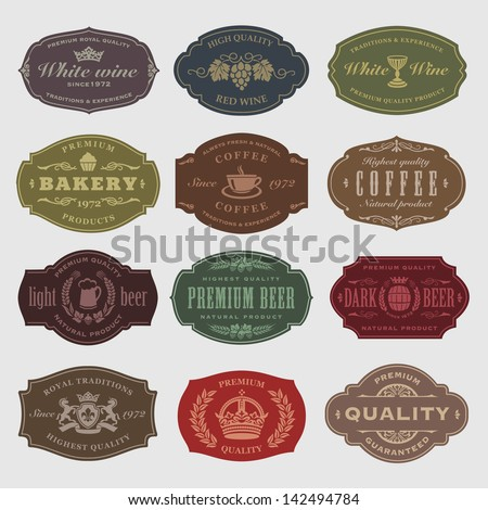 coffee, beer, wine labels - stock vector