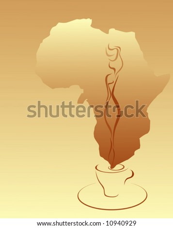 Coffee beige background with cup and Africa silhouette. - stock vector