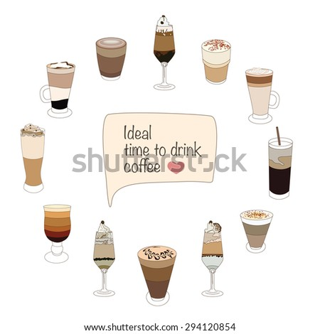 Coffee beverages clock face template with latte, cappuchino and mocha - stock vector