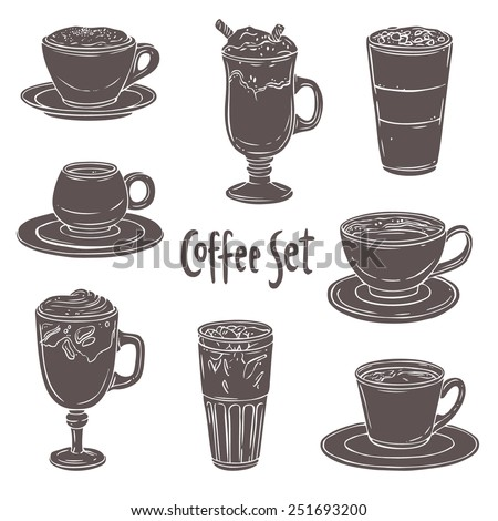 coffee black and white set of different kinds of coffee on white background  - stock vector