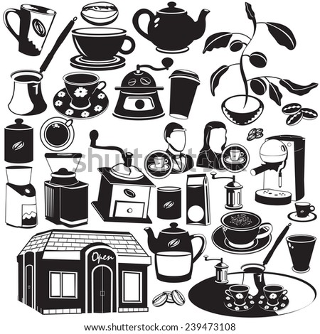 coffee black icons - stock vector