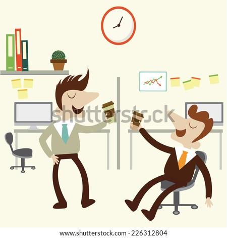 Coffee break at office. Cartoon vector illustration. - stock vector