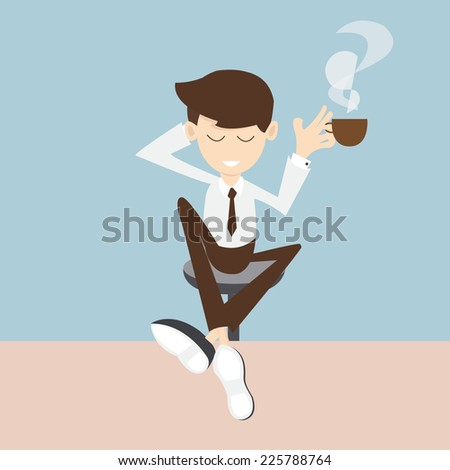 coffee  break - businessman enjoying a cup of coffee  - stock vector