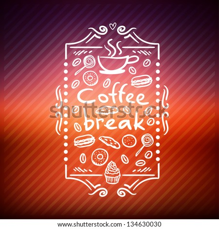 Coffee Break . Coffee time, design elements - stock vector