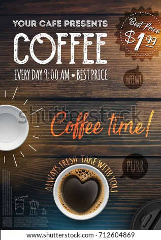 Coffee Break Flyer Template Leaflet Banners Stock Vector 712604869
