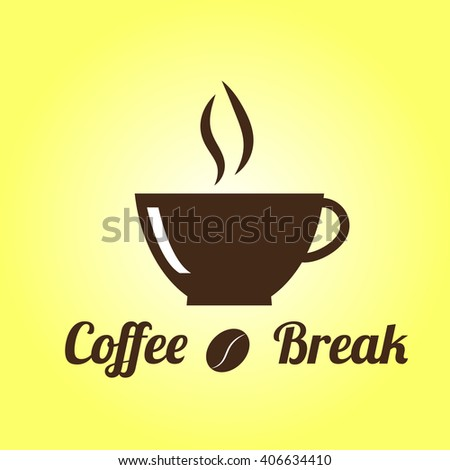 Coffee Break logo. Cup of coffee on yellow background.