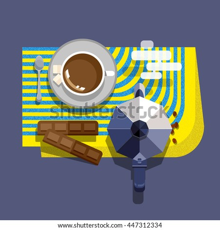 Coffee breakfast bright flat line style vector set with texture. Cup of coffee on a saucer, spoon, coffee beans, sugar; chocolate bars and Italian traditional black coffee maker kettle on a napkin - stock vector