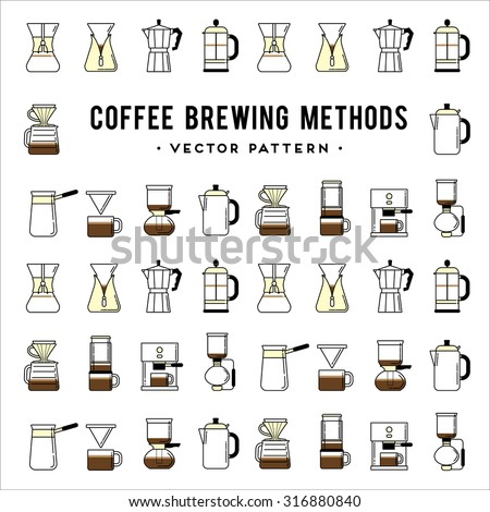 Coffee brewing methods pattern. Different ways of making hot energy drink. Stylish vector illustration and modern design element - stock vector