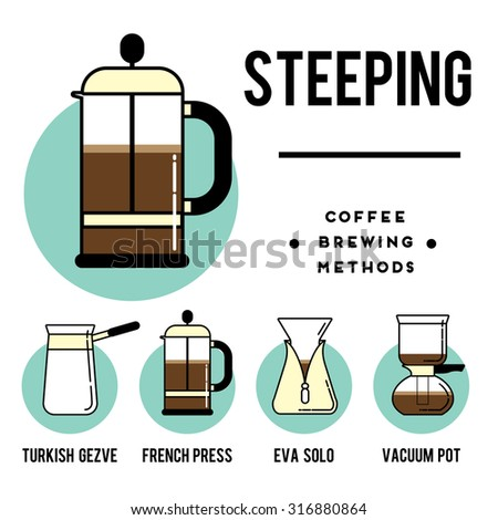 Coffee brewing methods. Steeping. Different ways of making hot energy drink. Stylish vector illustration and modern design element - stock vector