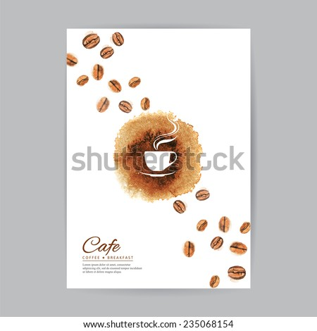 Coffee brochure cover watercolor template - stock vector