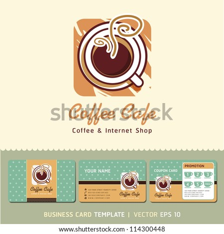 Coffee cafe icon logo and business cards design. Vector illustration. - stock vector