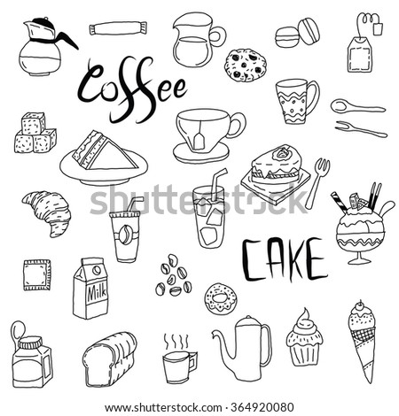 Coffee, cake, drink and food background, Hand drawing.