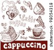 coffee, cappuccino, late and sweets. handwriting - stock vector