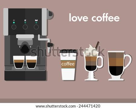 Coffee - cappuccino, mocha. Vector illustration. Flat - stock vector