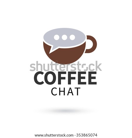 Coffee chat logo. Sign in form of cup and bubble speech - stock vector